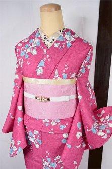 フーシャピンクにブルーフラワーロマンチックなウール単着物