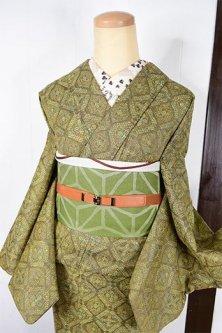 ハーバルグリーンマジョリカタイルのような装飾格子ロマンチックな胴抜き仕立てウール着物