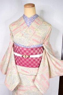 一の字繋ぎに古典風景文様美しい塩沢御召風単着物