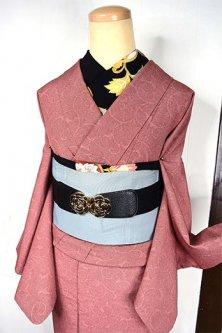 ブラウンローズ鮫小紋アラベスク美しい洗える袷着物