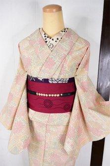 霞花に伝統家屋美しい塩沢御召し風ウール混単着物