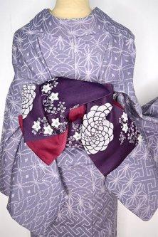 桔梗花野と丸花立涌美しい半幅帯(紫と紅)