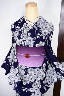 紺地に白の菊花清々しく美しい注染レトロ浴衣