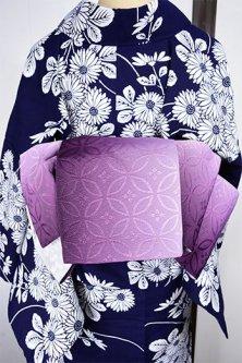七宝グラデーションと桜花美しい半幅帯(ディープ・パープル)