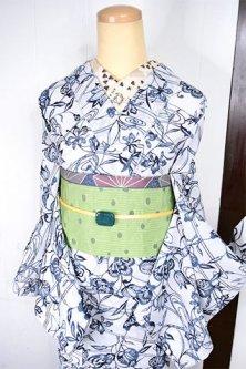 モノクロームざくろ花枝染模様美しい上布風スリーウェイ夏着物