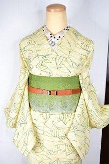 クリームイエローとグリーンのメルヘンチックデザインモダンなサマーウール単着物