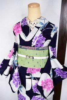 モダンジオメトリック紫陽花模様美しい注染レトロ浴衣
