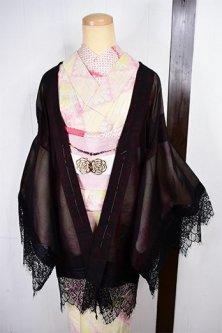 レースデコレーション・リメイク薄羽織(ルビーブラック刺繍レースフラワー)