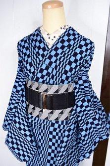 黒と薄花色の変わり市松モダンな注染レトロ浴衣