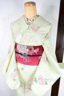 パウダリーグリーンに菊花美しいサマーウール単着物