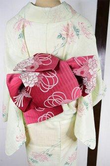 縞に花薬玉あでやかに美しい半幅帯(深紅色)