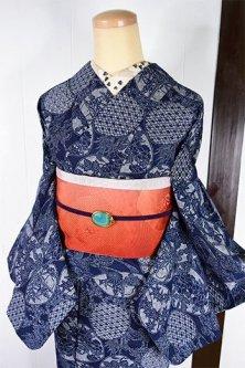 先染格子に草花貝合わせ模様美しい長板正藍染浴衣