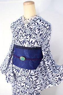 白地に紺の笹ストライプ小粋な注染レトロ浴衣