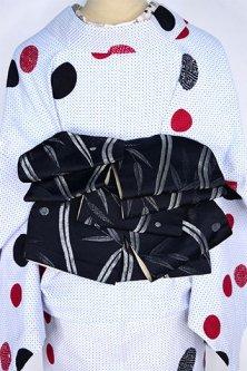 笹よろけ縞と銀桜美しい小粋(黒と象牙色)