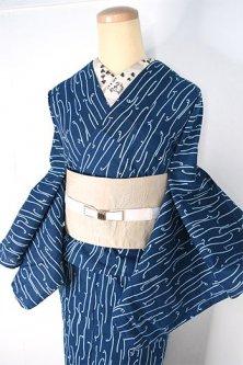 薄縹青に早蕨文様モダンな注染レトロ浴衣