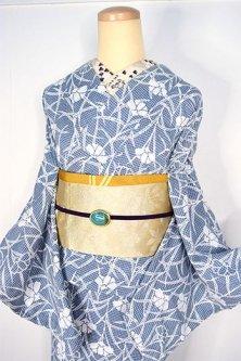 藍色格子に撫子の花涼やかに美しい綿紅梅調先染変わり織地注染レトロ浴衣
