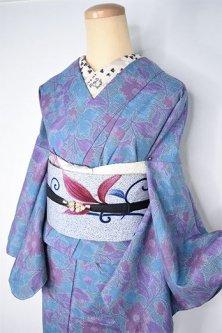 スモークブルーとラズベリーのボタニカルデザイン美しいウール混単着物