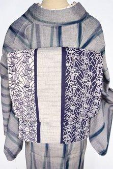 杢グレーに紺の燕子花縞染め模様小粋な綿紬昼夜帯