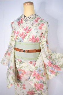 クリーム色にフラワリングツリー美しいサマーウール単着物