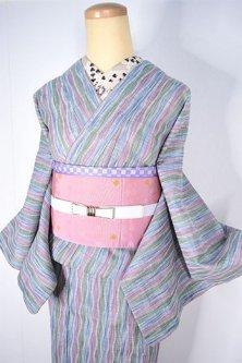 色鉛筆カラー立涌ストライプモダンなサマーウール単着物
