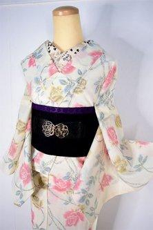 アイボリーに薔薇の花枝ロマンチックなサマーウール単着物