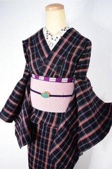 ナチュラルチェックモダンな正絹紬縮単着物