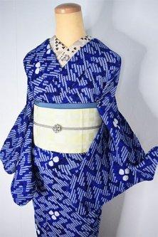 瑠璃色地に波幾何学モダンな有松鳴海総本絞り浴衣