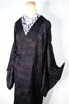 パールブラック薔薇の花模様ロマンチックな正絹紗の薄コート