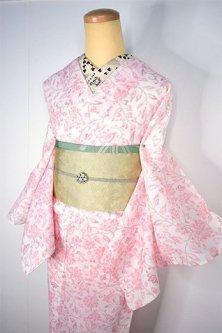 ルージュアラベスクロマンチックな上布風スリーウエイ夏着物