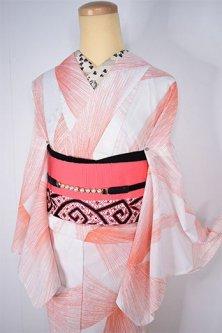 ねむの花のようなラジエーションデザインモダンな化繊絽の夏着物