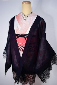レースデコレーション・リメイク薄羽織(ルビーブラック花透かし)