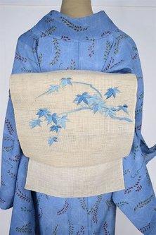 生成り色地に藍涼やかな枝葉の刺繍美しい紗の夏名古屋帯
