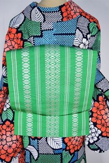 真緑美しい正絹博多献上開き名古屋帯