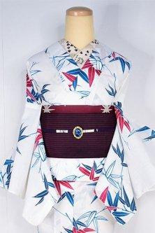 白地に青碧と紅の笹の葉涼やかに美しいスリーウエイ夏着物