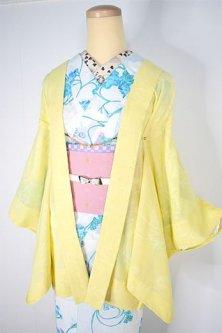 レモンクリームエローに花野透かし模様美しい紗の薄羽織