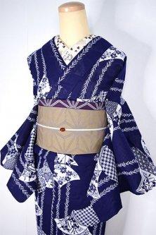 紺地に白の柳縞に青海波取り四季の草花古典文様美しい注染綿絽浴衣