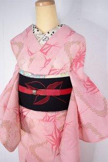 薄紅色に市松霞と破れ麻の葉美しいアンティーク夏着物