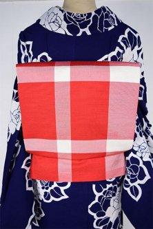 赤と白のブロッキングチェックモダンなちぐさ帯