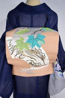 茅色地扇地紙に波と枝葉美しい絽の夏袋帯