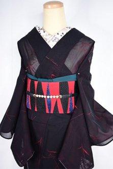 ルビーブラックのリーフパターンモダンな紗の夏着物