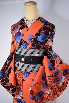ソレイユオレンジ蝶々と向日葵の花モダンな注染レトロ浴衣