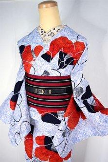 白地に青の氷割れ模様と椿の花愛らしい注染レトロ浴衣