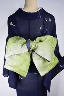 ふくれ織り風水玉模様ふわりと浮かぶ半幅帯(ハーバルグリーン)