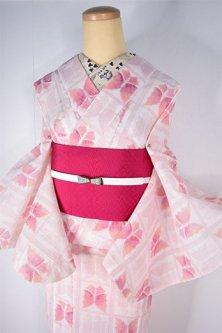 ルージュカラーの蝶々格子ノスタルジックな縮風夏着物