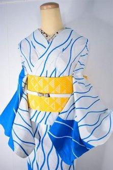白と空色の立涌縞肩裾文様モダンな注染絵羽浴衣