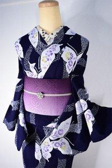紺色地に小紋飾りよろけ縞と蝶々美しい注染レトロ浴衣