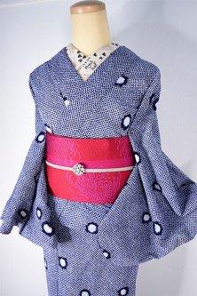紺と白の鹿子水玉モダンな絞り風リップル注染レトロ浴衣