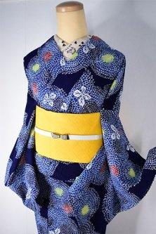 紺色地に菊花水玉幻想的な注染レトロ浴衣