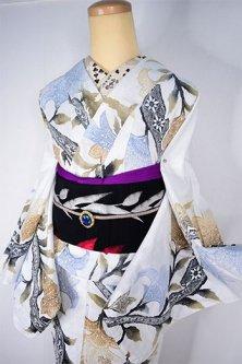 アラベスクレース染め模様ロマンチックな注染レトロ浴衣