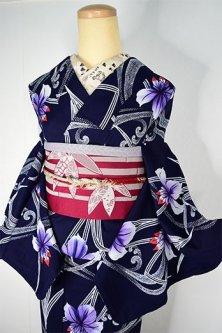 濃紺色地にろうけつ染調の流水燕子花美しい注染レトロ浴衣